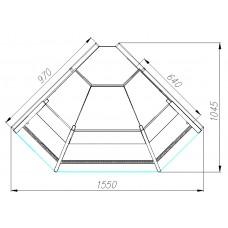 Холодильная угловая витрина GC95 VM-5 KombiLux / INOX наружная PALM 2 Полюс