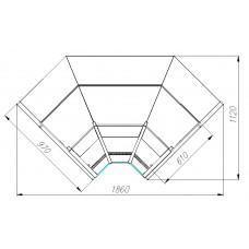 Холодильная угловая витрина GC95 VM-6 внутренняя PALM 2 Полюс